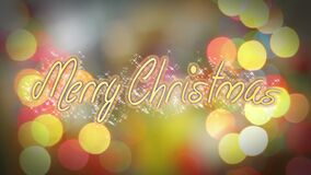 Merry Christmas greeting on shiny colorful background, congratulation message. Stock footage stock video