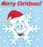 Merry Christmas Greeting Snowflake Cartoon Character With Santa Hat Stock Photo