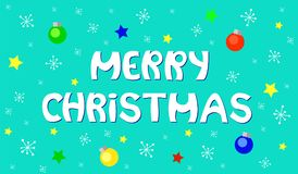 Merry Christmas Lettering on Festive Blue Background. Merry Christmas greeting with snowflakes and baubles Royalty Free Stock Photo