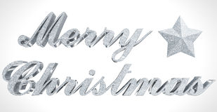 Merry Christmas greeting, sparkled 3d letters and star on white Stock Photo