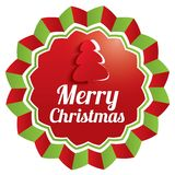 Merry Christmas Greeting sticker. Christmas label Stock Photos