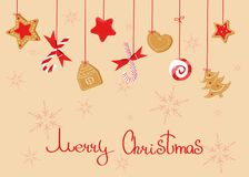 Merry Christmas greeting with sweats: lollipops, ginger cookie, candy cane royalty free illustration