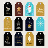 Merry Christmas greeting tags Stock Photos