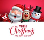 Merry christmas greeting template with santa claus, snowman and reindeer vector characters