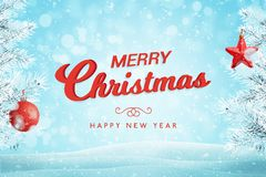 Merry Christmas greeting text with Christmas tree and decorations vector illustration