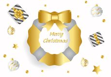 Merry Christmas greeting text in white background. Using gold fir tree with ribbon bow, gift box, star and silver ball vector illustration