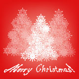 Merry Christmas Greeting with Three Trees Stock Photo