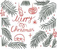 Merry Christmas greeting with a Christmas tree and toys drawing Royalty Free Stock Photo