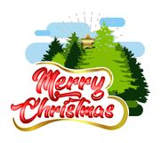 Merry Christmas Greeting typography  with pine trees. Merry Christmas and Happy New Year Greeting typography luxury design with nature touch Royalty Free Stock Images