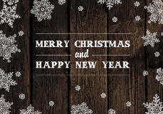 Merry Christmas Greeting On Wooden Planks Texture Stock Photo