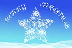 Merry Christmas greeting written above big star Royalty Free Stock Photography