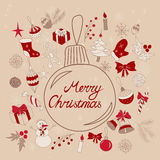 Merry Christmas greetings in ball. Christmas elements. Merry Christmas concept for cards, banners, greetings, etc. Vector illustration in eps8 format Royalty Free Stock Photos