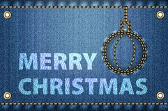 Merry Christmas greetings on blue jeans background stock illustration