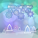 Merry Christmas greetings on bokeh background Stock Photography