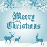 Merry Christmas Greetings Card Blue. And White with deer and snow flake Royalty Free Stock Photos
