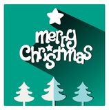 Merry Christmas flat lettering design greetings card. Long Shadow on green background,. Merry Christmas greetings card with copy space. Long Shadow on green warm Stock Photos