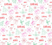 Merry Christmas Greetings Card in Decor Patterns Stock Photos