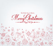 Merry Christmas Greetings Card in Decor Patterns. And White Snow Background. Vector Illustration Royalty Free Stock Images