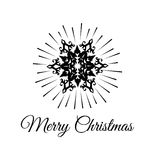 Merry Christmas Greetings Card Design with Snow Flake. Filigree Swirl Decorated. Happy New Year. Vector Illustration Stock Photo