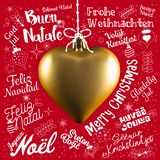 Merry Christmas Greetings Card From World In Different Languages Royalty Free Stock Photos