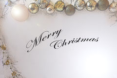 Merry christmas greetings card. Merry christmas gold christmas ball, new year royalty free stock photography