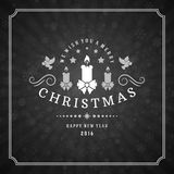 Merry Christmas Greetings Card or Poster Design. Chalkboard vector background and retro chalk typography holidays wishes Royalty Free Stock Photography