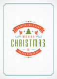 Merry Christmas Greetings Card or Poster Design. Textured paper vector background and retro typography holidays wishes Stock Image