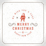 Merry Christmas Greetings Card or Poster Design. Textured paper vector background and retro typography holidays wishes Royalty Free Stock Photo