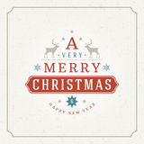 Merry Christmas Greetings Card or Poster Design. Textured paper vector background and retro typography holidays wishes Royalty Free Stock Photos
