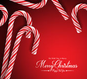 Merry Christmas Greetings Card with Realistic Candy Cane. In Red Background. Vector Illustration Royalty Free Stock Image