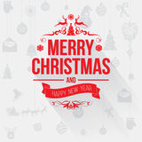 Merry Christmas greetings card with red letters on light gray background Royalty Free Stock Images