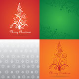Merry Christmas greetings card set. Merry Christmas set. Four square images: a silver and white vector snow flakes texture, a red and orange abstract christmas stock illustration