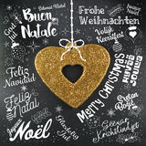 Merry Christmas greetings card from world in different languages Royalty Free Stock Photography