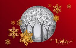 Merry christmas greetings and Happy new year 2019. Templates with beautiful winter and snowfall patterned paper cut art and craft style on paper color stock illustration
