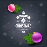 Merry Christmas greetings logo on chalkboard Stock Image