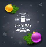 Merry Christmas greetings logo on chalkboard Stock Photo