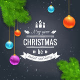 Merry Christmas greetings logo on chalkboard Royalty Free Stock Images