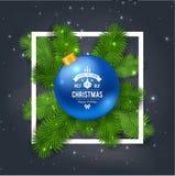Merry Christmas greetings logo on chalkboard. Stock Image