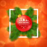 Merry Christmas greetings logo on colorful background. Stock Photo