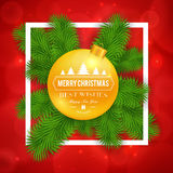Merry Christmas greetings logo on colorful background. Stock Photography