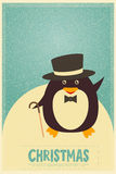 Merry Christmas greetings with penguin Royalty Free Stock Images