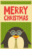 Merry Christmas greetings with penguin Royalty Free Stock Photo