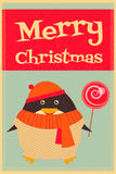 Merry Christmas greetings with penguin Stock Photos