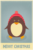 Merry Christmas greetings with penguin Royalty Free Stock Image