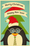 Merry Christmas greetings with penguin Royalty Free Stock Photography
