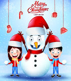 Merry Christmas Greetings Poster with Snowman and Kids Royalty Free Stock Photography