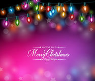 Merry Christmas Greetings in Realistic Colorful Christmas Lights Royalty Free Stock Image