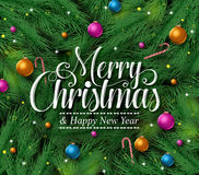 Merry christmas greetings title in a green pine leaves background. With colorful christmas ornaments and decoration hanging. Vector illustration vector illustration