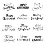 Merry Christmas greetings vector overlay set. Hand lettering collection of various fonts, black and white text on white background Royalty Free Stock Photography