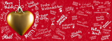 Merry Christmas Greetings Web Banner From World In Different Lan Stock Photos